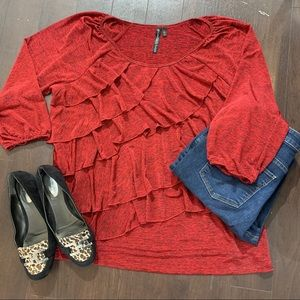 Allie & Rob Heather Red Ruffled Blouse Size 2X